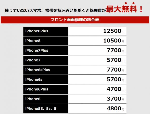 iphone画面修理金額(津田沼・船橋)