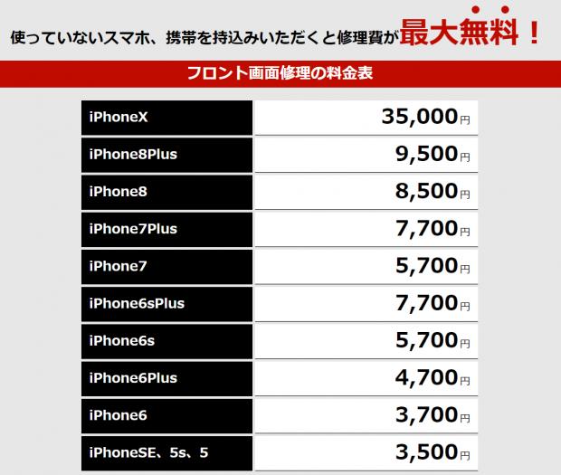 iphone修理津田沼価格表